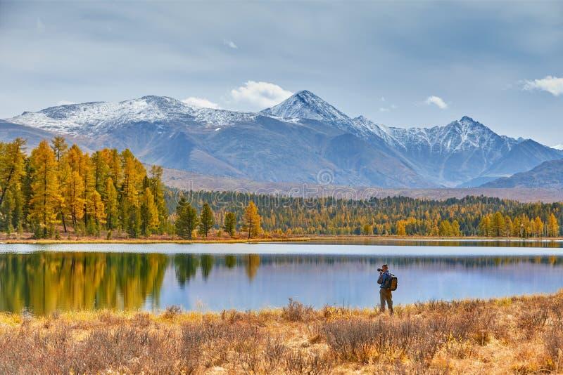 Campo en las montañas por el lago Paisaje hermoso del otoño El fotógrafo camina a lo largo de la orilla y hace tiros de imagen de archivo