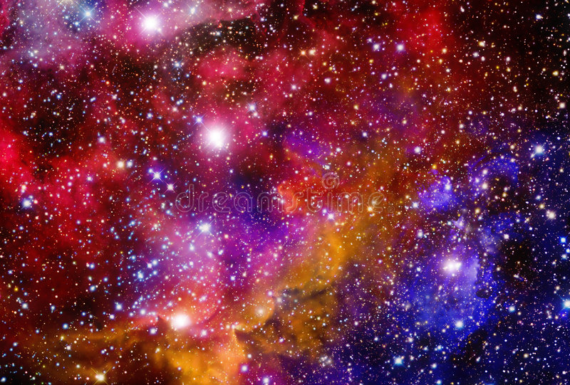 Campo estelar con las nebulosas imagen de archivo