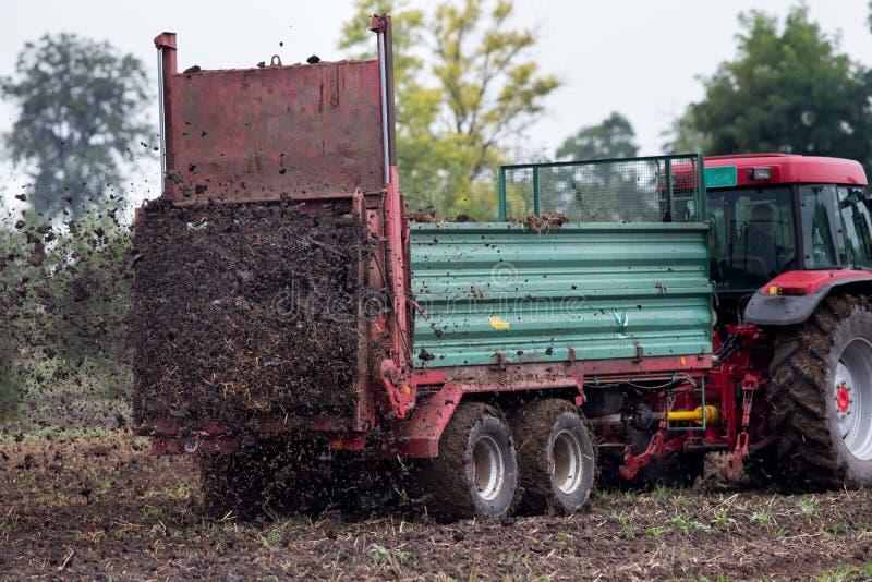Campo fertilizzante del trattore con fusto immagine stock libera da diritti