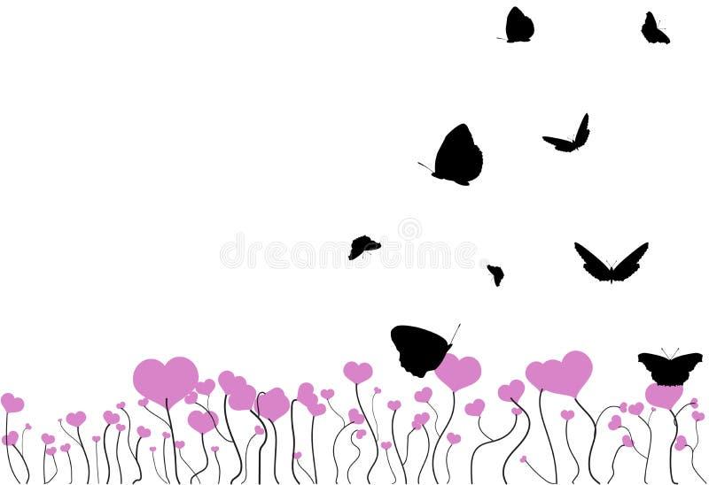Campo floreciente con los corazones rosados y las siluetas negras que vuelan de las mariposas aisladas en blanco libre illustration