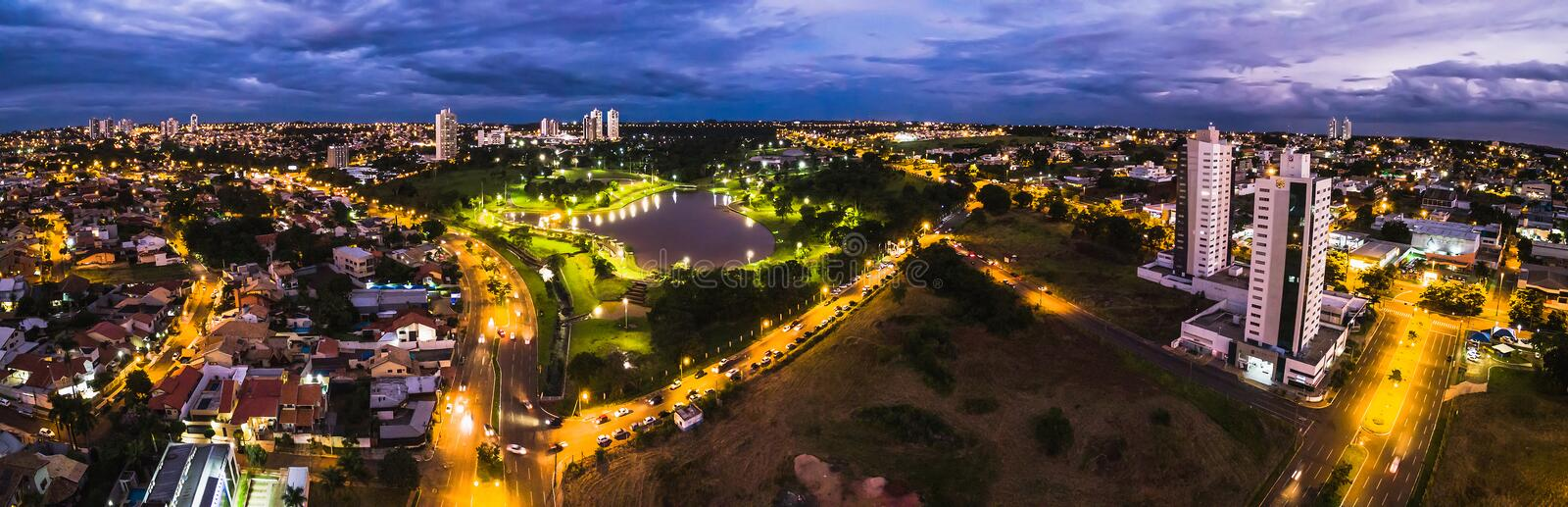 Aerial view from Parque das Nacoes Indigenas at night stock images