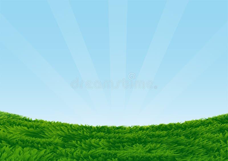 Campo herboso en el ejemplo del fondo-vector del cielo azul stock de ilustración