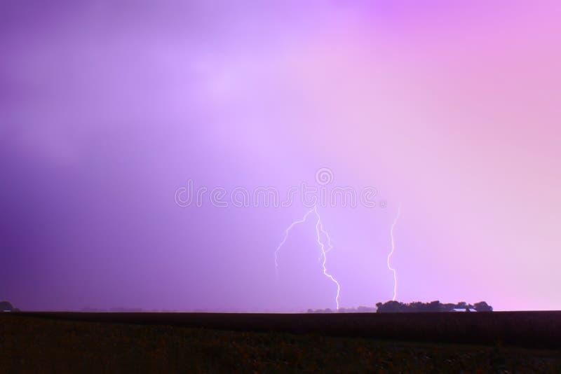 Campo Illinois do relâmpago do temporal foto de stock royalty free