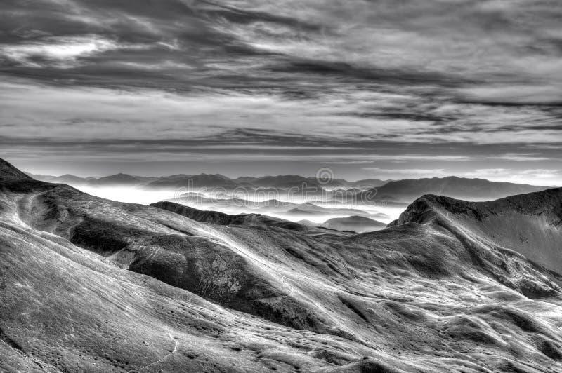 Campo Imperatore Peaks Abruzzo Italy black and white stock image