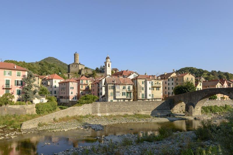 Campo Ligure i Stura rzeka, Włochy fotografia stock