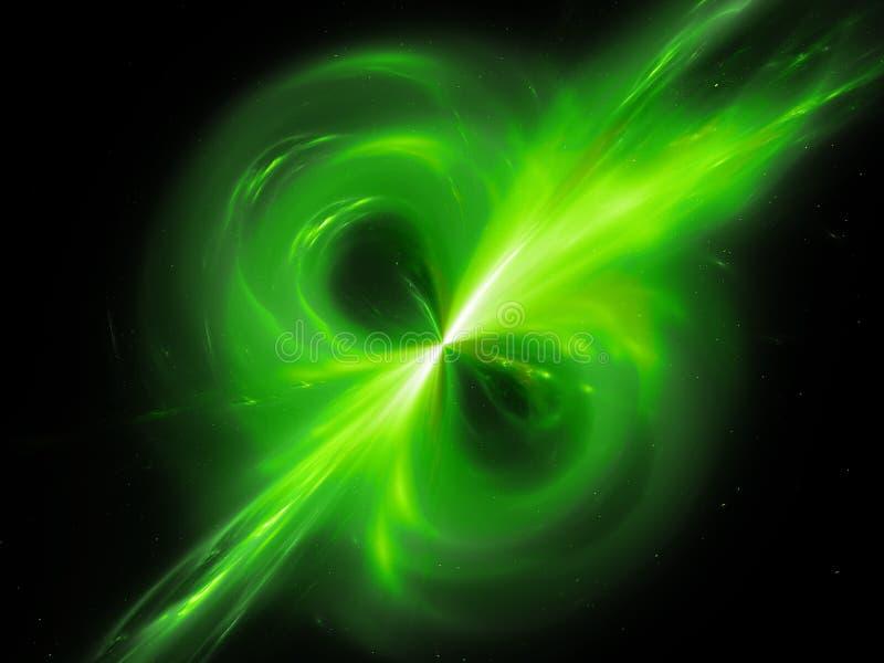 Campo magnético de incandescência verde no espaço ilustração do vetor