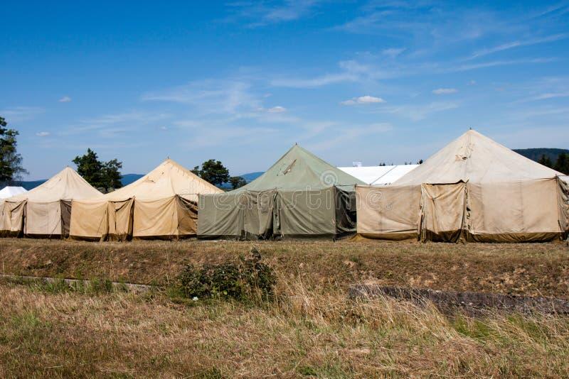 Campo militar de la tienda foto de archivo