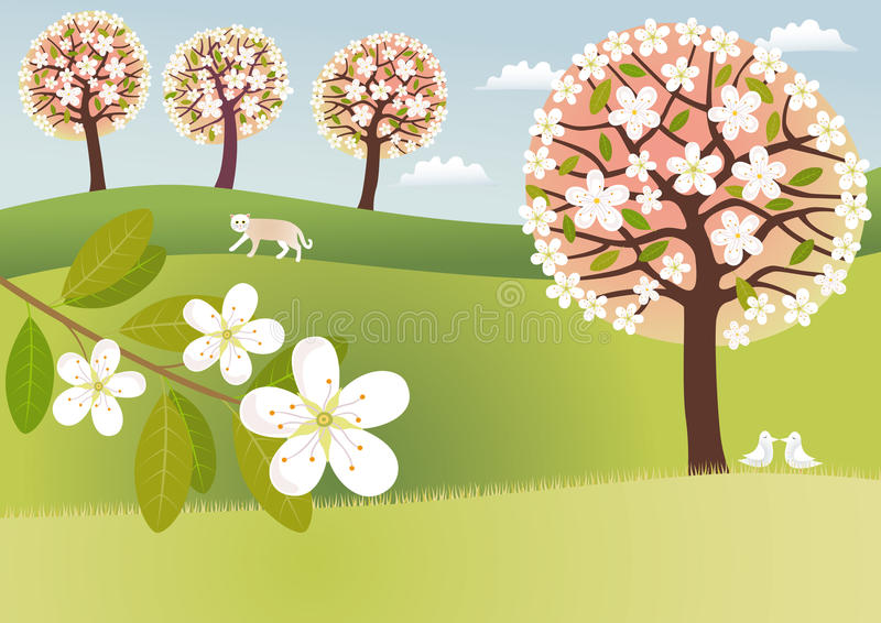 Campo na flor ilustração royalty free
