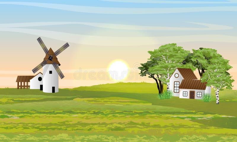 Campo no verão Moinho, celeiro e casa com jardim ilustração royalty free