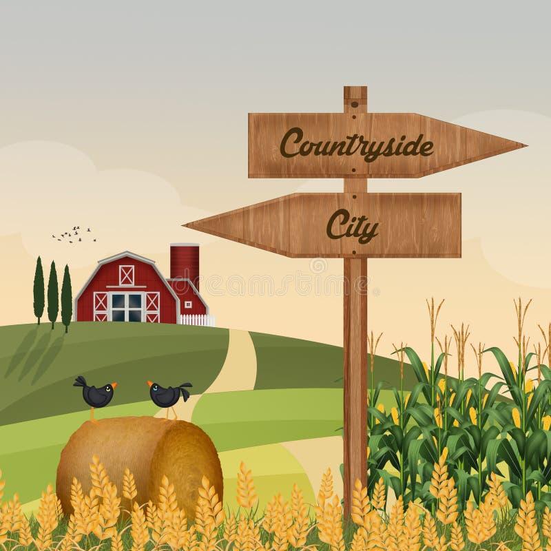 Campo ou cidade ilustração royalty free