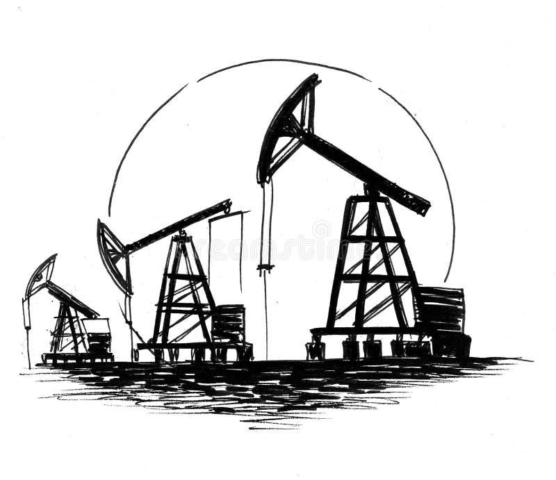 Campo petrolífero stock de ilustración