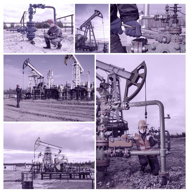 Campo petrolífero da colagem imagens de stock royalty free