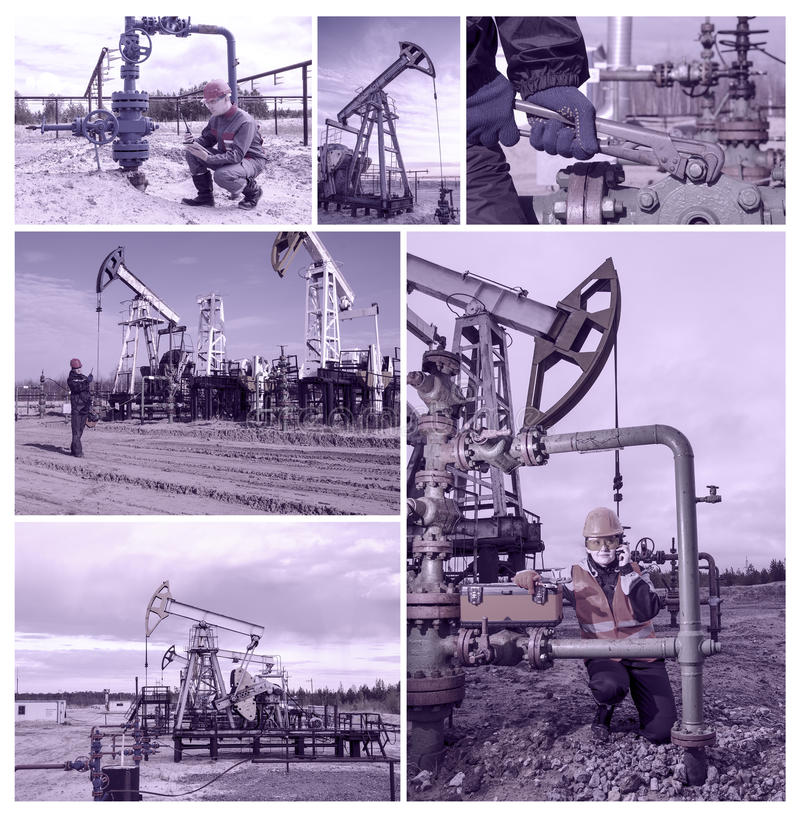 Campo petrolífero del collage imágenes de archivo libres de regalías