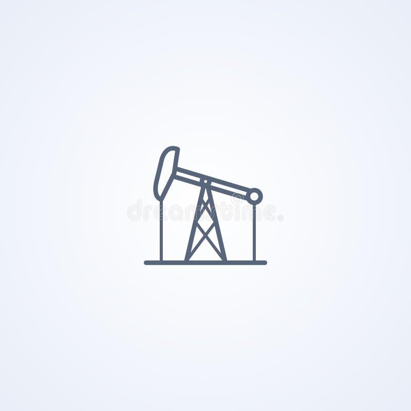 Campo petrolífero, la mejor línea gris icono del vector ilustración del vector