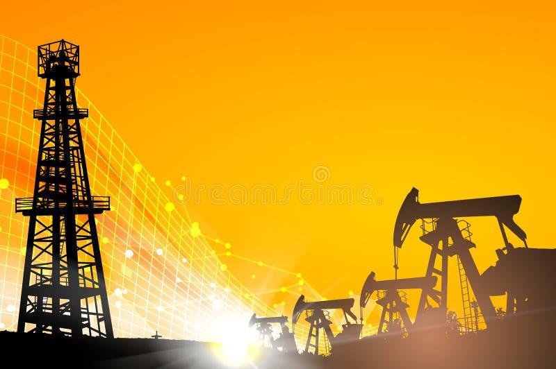 Campo petrolífero sobre o por do sol ilustração do vetor