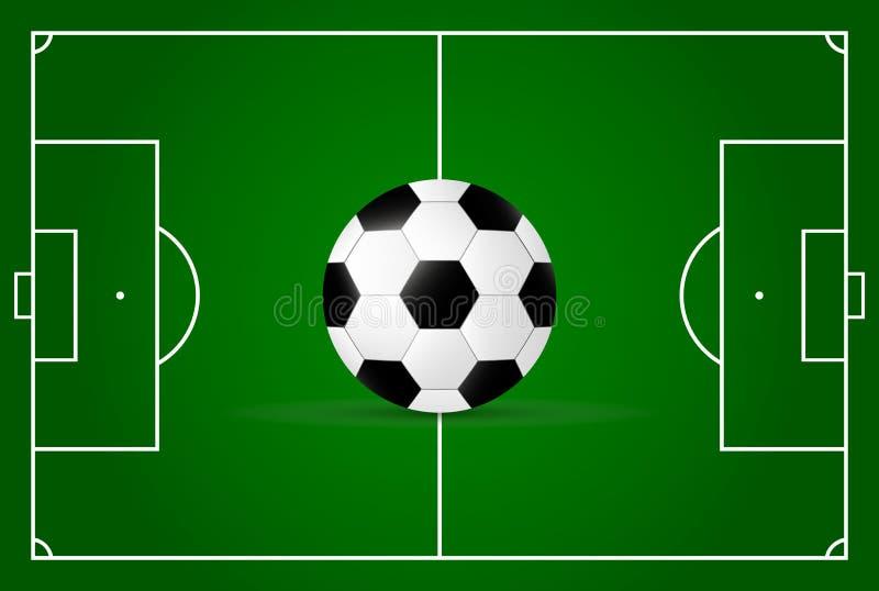 Campo realístico, de futebol e bola de futebol ilustração do vetor