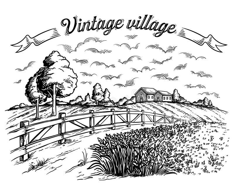 Campo rural con trigo maduro en el fondo del molino y de la cerca, nubes libre illustration