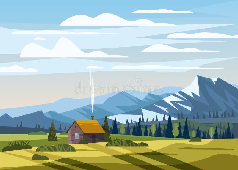 Campo rural da casa da explora??o agr?cola do vale bonito da paisagem da montanha do ver?o, montes verdes, c?u azul da cor brilha ilustração royalty free