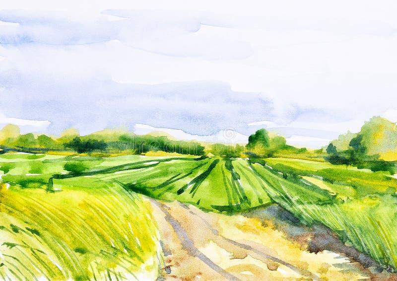 Campo ruso arado con el bosque en el fondo y la hierba en el primero plano Ejemplo de la acuarela de una ubicación rural libre illustration