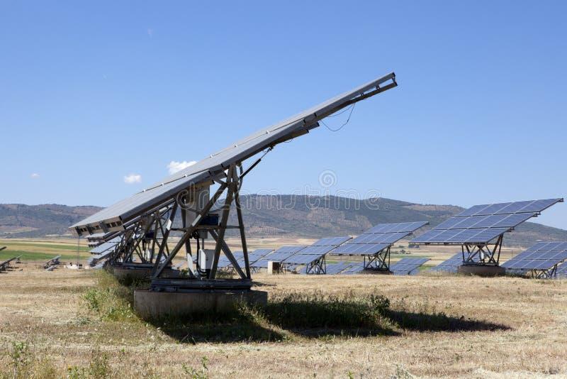 Campo solar dos painéis do photovoltaics foto de stock