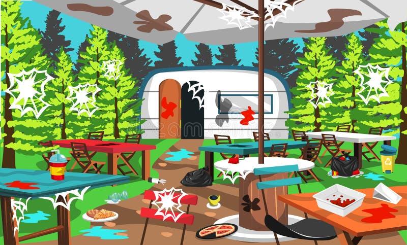 Campo sporco del caffè sulla Tabella di Forest With Chair And Camping della natura, sulla tenda del caffè, sui rifiuti, sull'alim illustrazione di stock