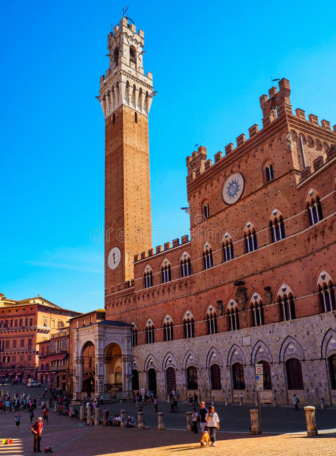 Campo Square Piazza del Campo, Palazzo Pubblico and Mangia Tower Torre del Mangia in Siena. Tuscany, Italy stock photo