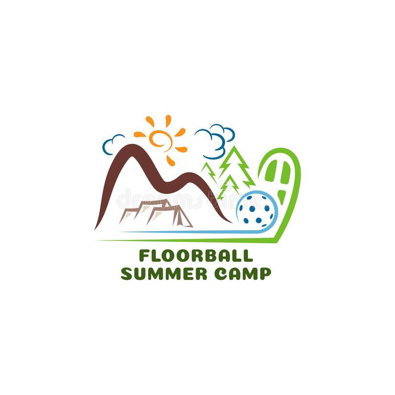 Campo summar del floorball di logo Logo del fumetto di divertimento royalty illustrazione gratis