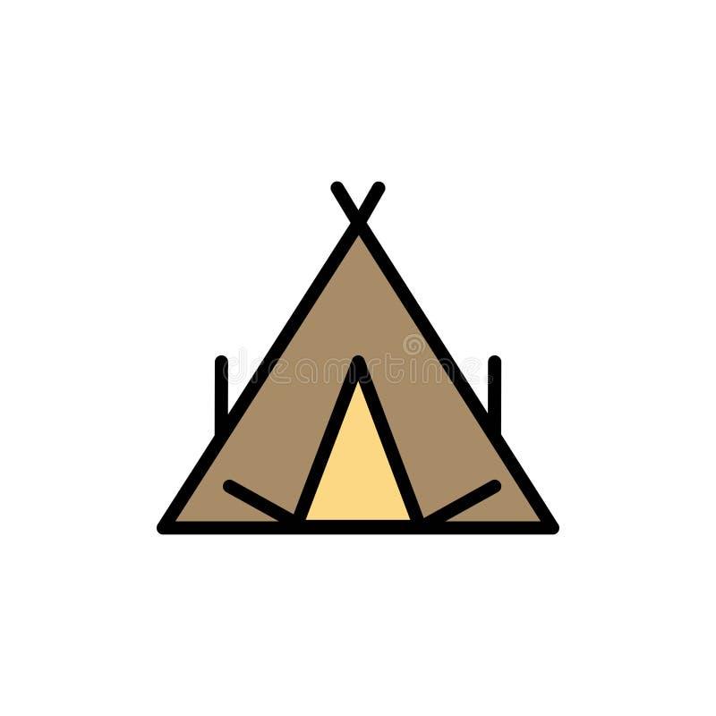 Campo, tienda, tienda india, icono plano del color de la primavera Plantilla de la bandera del icono del vector libre illustration