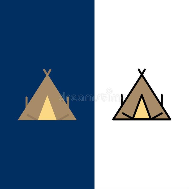 Campo, tienda, tienda india, iconos de la primavera El plano y la línea icono llenado fijaron el fondo azul del vector stock de ilustración