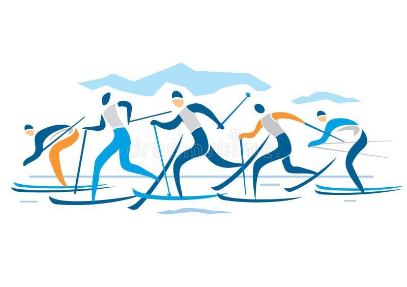 Campo a través Ski Race stock de ilustración