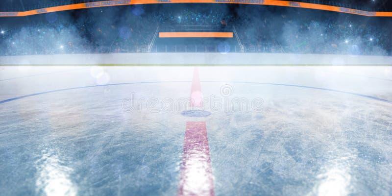 Campo vazio da arena de esporte da pista de gelo do h?quei foto de stock