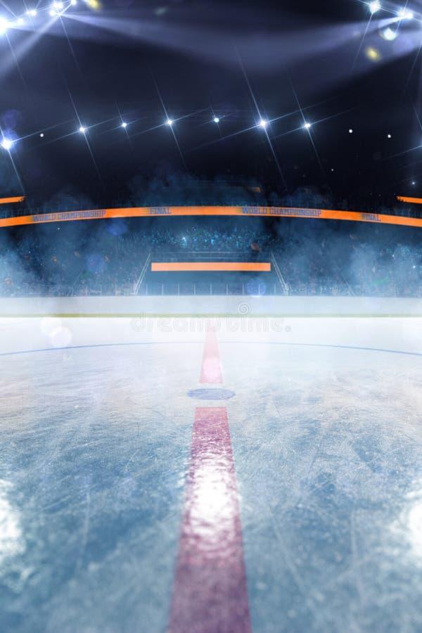 Campo vazio da arena de esporte da pista de gelo do h?quei fotografia de stock