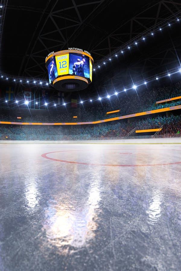 Campo vazio da arena de esporte da pista de gelo do h?quei imagens de stock royalty free