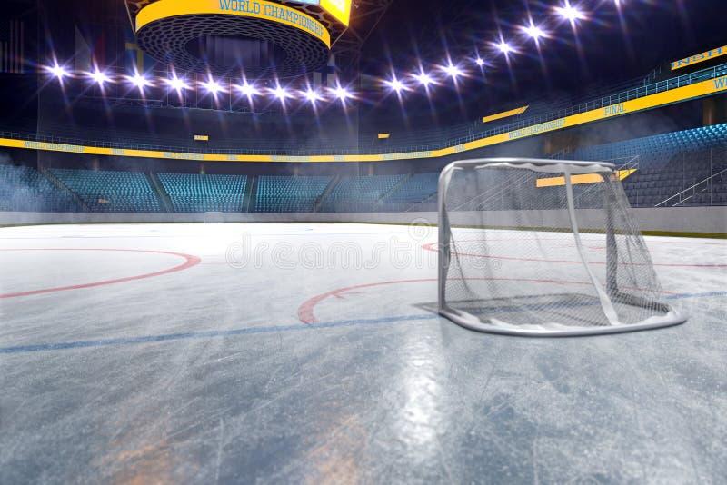 Campo vazio da arena de esporte da pista de gelo do h?quei imagem de stock