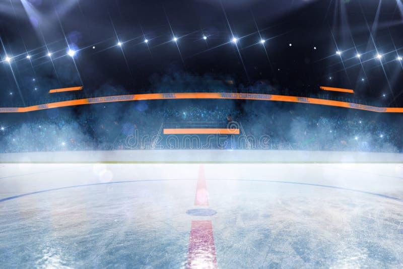 Campo vazio da arena de esporte da pista de gelo do h?quei fotografia de stock royalty free