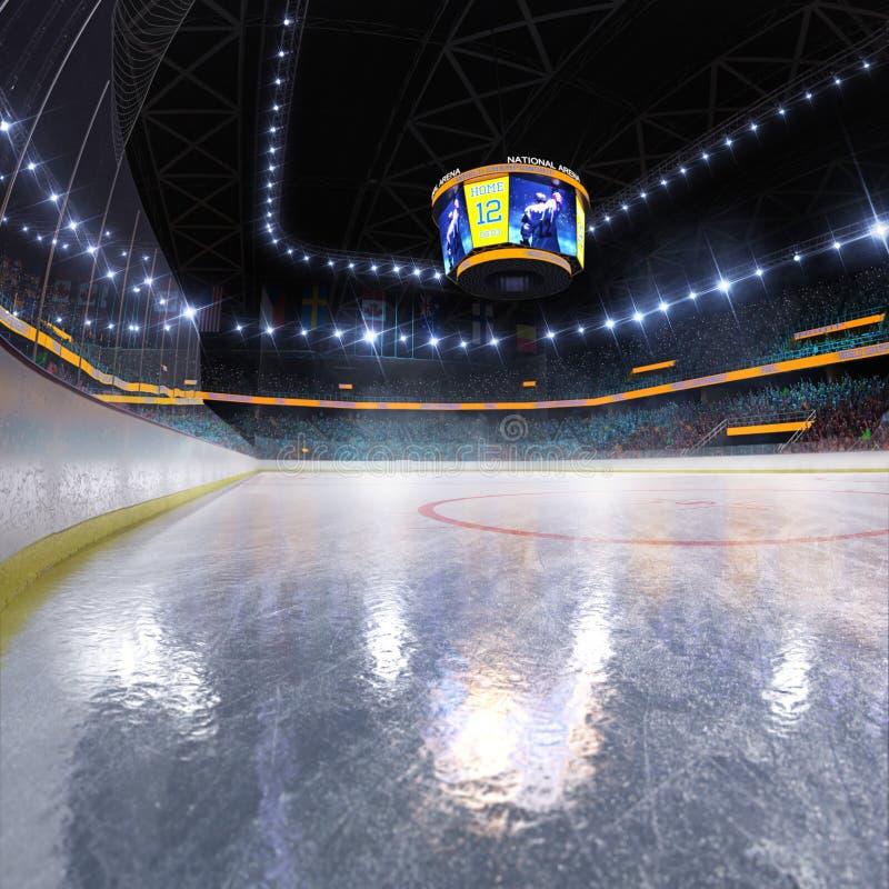 Campo vazio da arena de esporte da pista de gelo do h?quei imagens de stock