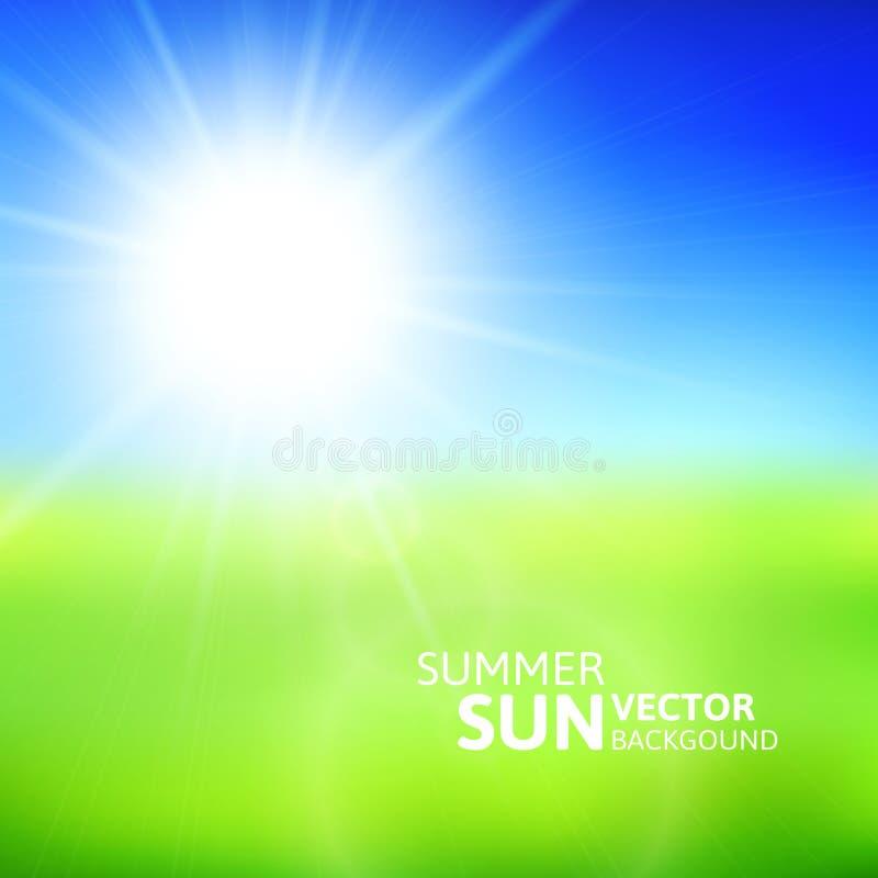 Campo verde borroso y cielo azul con el sol del verano libre illustration