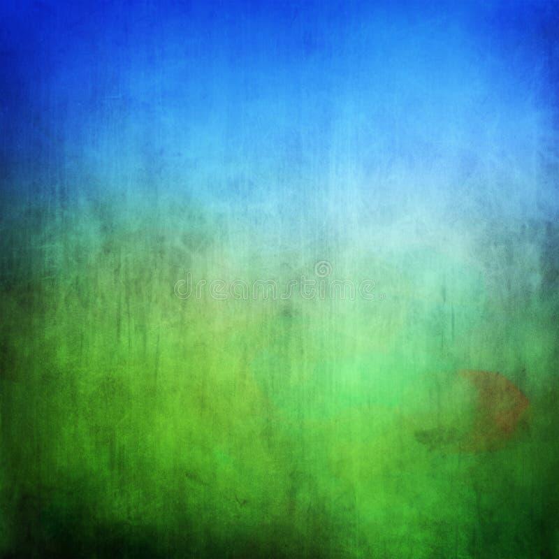 Campo verde del Grunge y cielo azul stock de ilustración