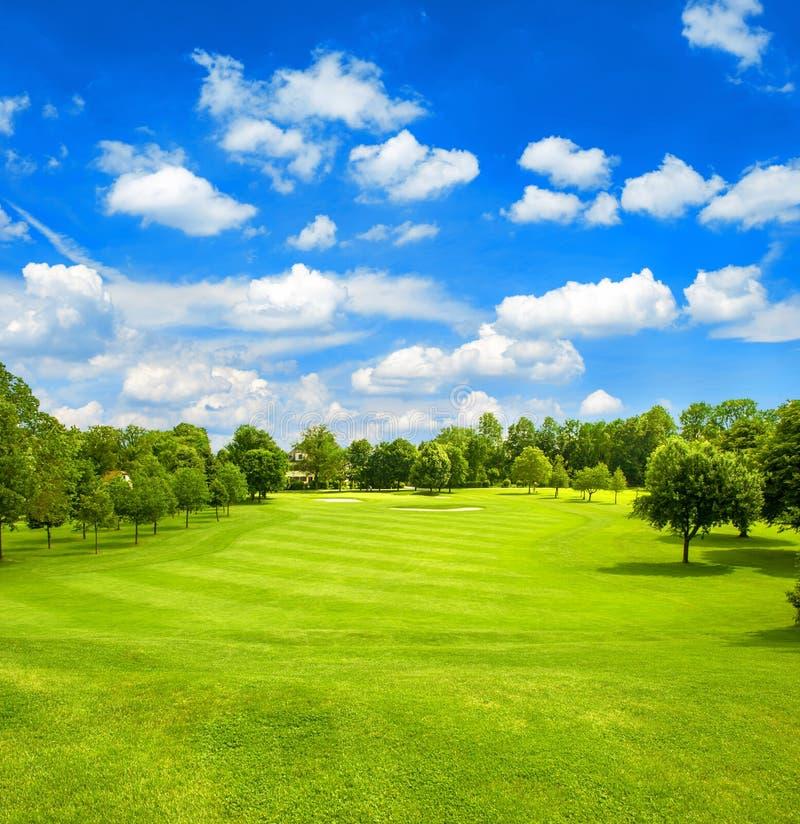 Campo verde e cielo nuvoloso blu Campo da golf fairway immagine stock