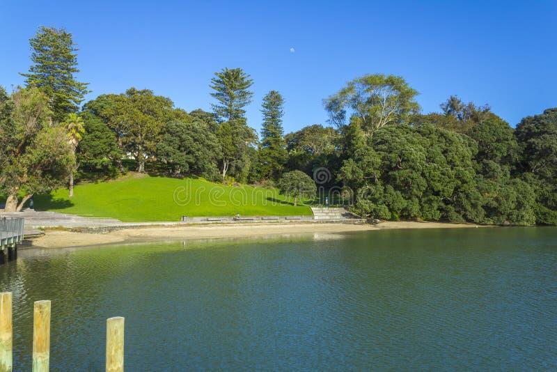 Campo verde ed acqua calma alla baia Parnell Auckland New Zealand dei giudici immagine stock libera da diritti