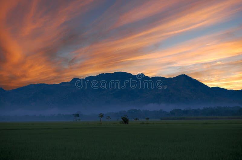 Campo verde en el amanecer y la montaña en la distancia debajo de las nubes rojas fotos de archivo