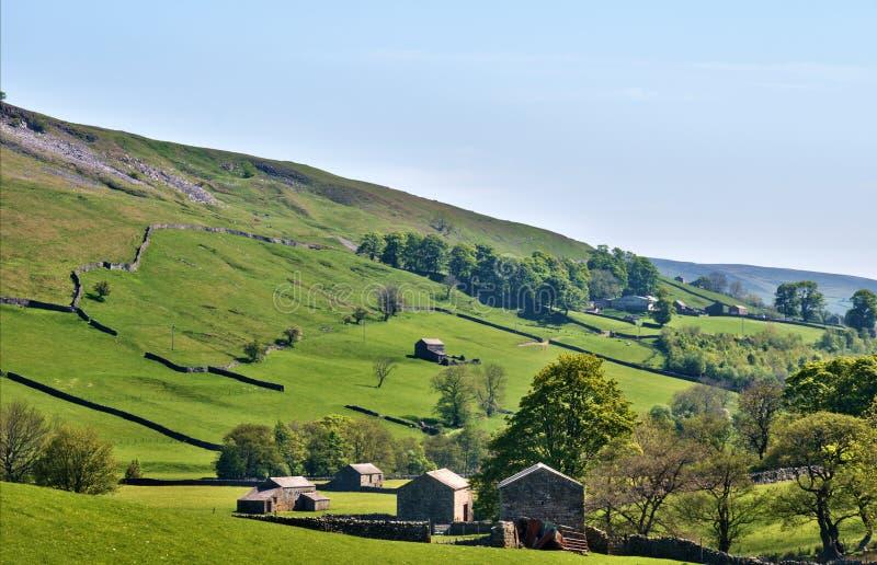 Campo verde enorme de los valles de Yorkshire fotos de archivo