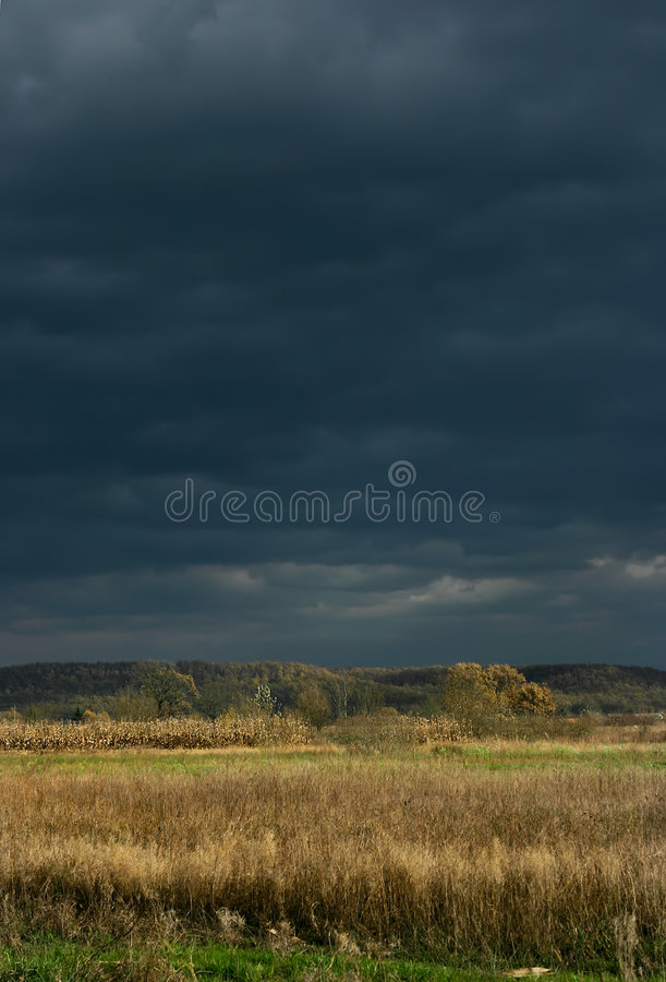 Campo y cielo tempestuoso fotografía de archivo libre de regalías