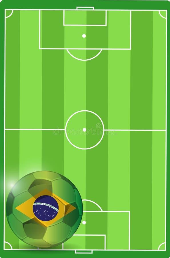 Campo y ejemplo del balón de fútbol del Brasil stock de ilustración