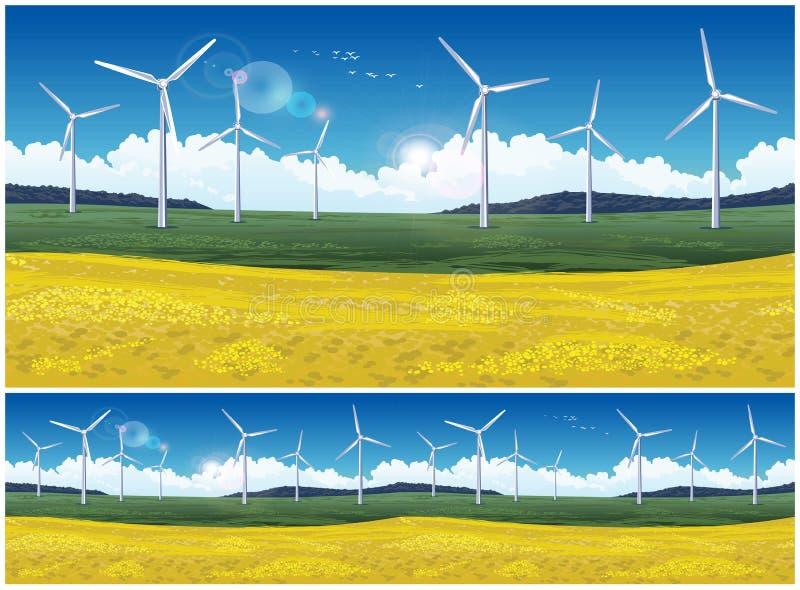 Campo y generadores de viento pintorescos libre illustration