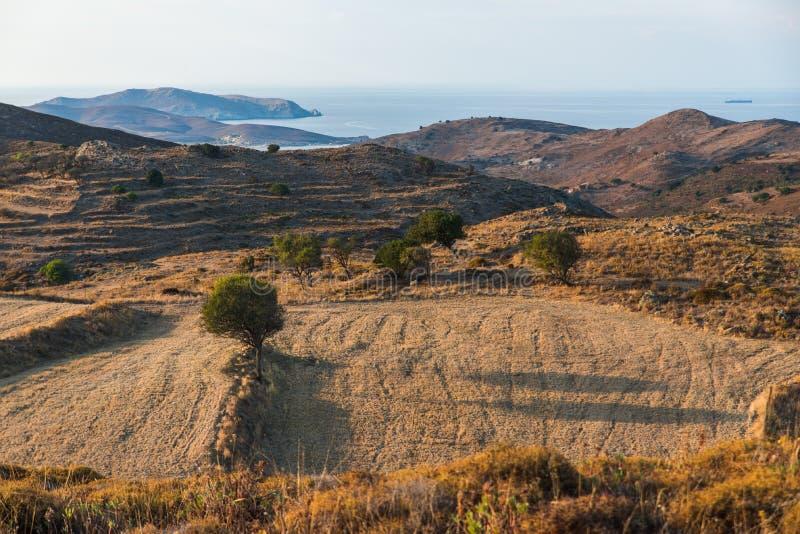 Campo y paisaje, Limnos, Grecia imagen de archivo
