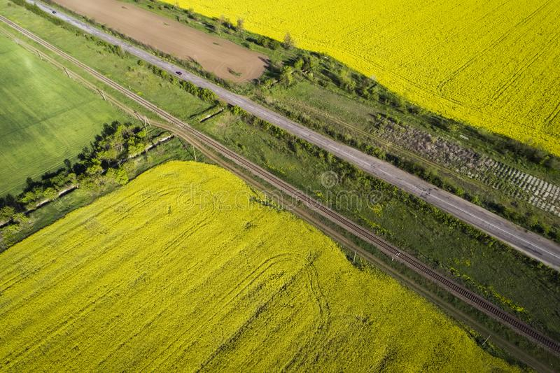 Campos amarelos e verdes, visualização aérea Carros vão na estrada imagens de stock