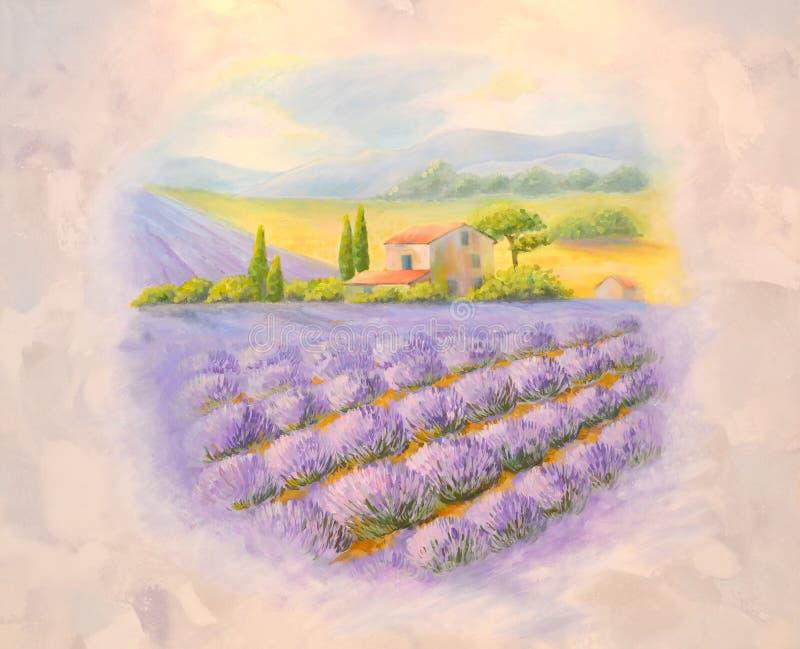 Campos da alfazema de florescência em Provence Uma lista em uma sala ilustração royalty free