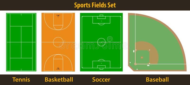 Campos de deportes stock de ilustración