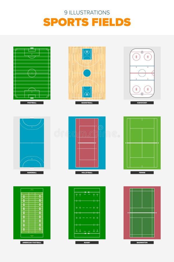 Campos de deportes desde arriba libre illustration